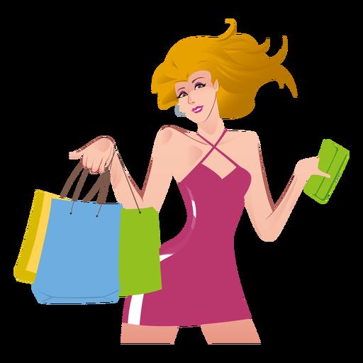 Shopping girl cartoon png