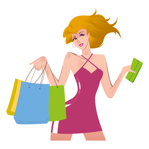 Shopping girl cartoon Transparent PNG - Shopping PNG