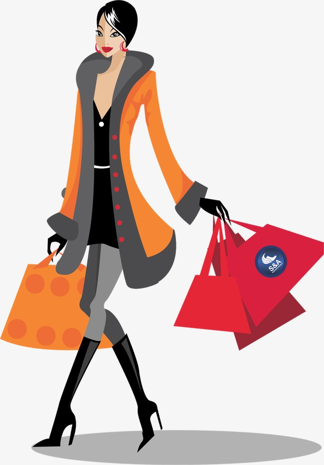 shopping woman shopping girl, Gift, Element, Shopping PNG Image and Clipart - Shopping PNG