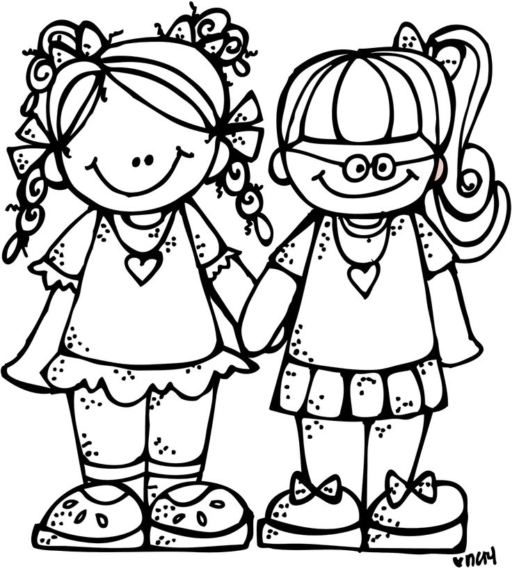 Black Sisters Cliparts; Recommended Clipart - Siblings PNG Black And White