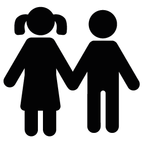 Brother Silhouette - Siblings PNG Black And White