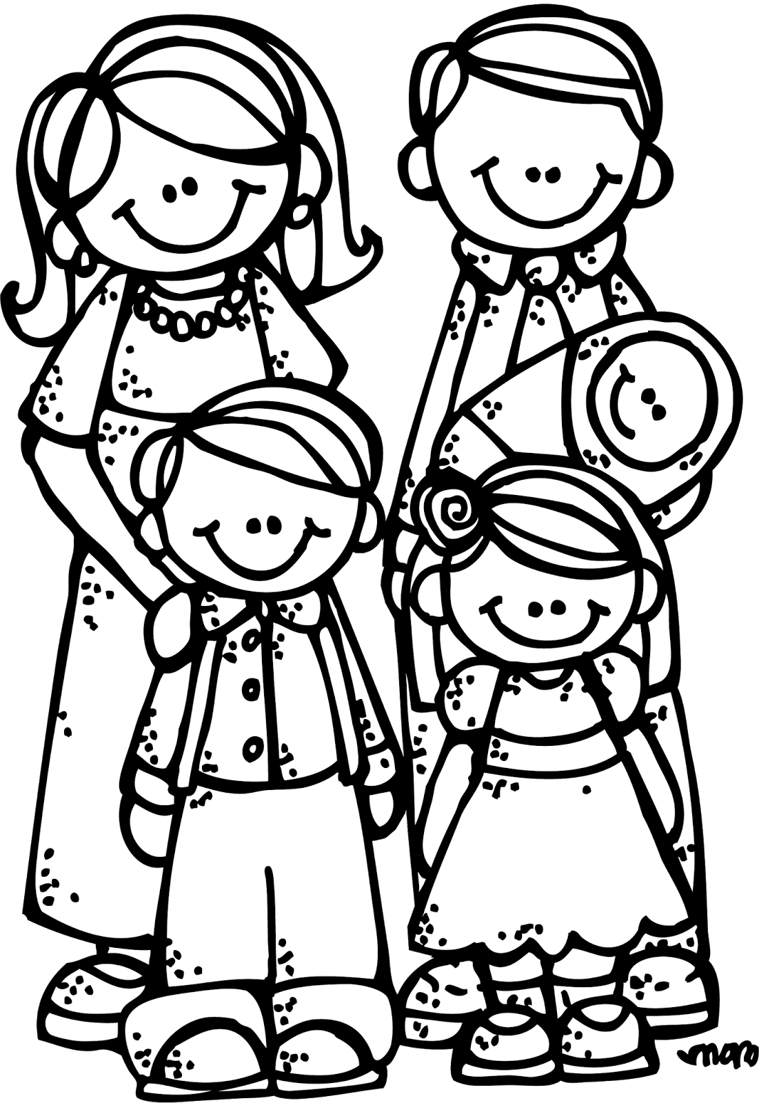 Family - Siblings PNG Black And White