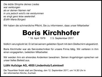 Anzeige von Boris Kirchhofer | www.sich-erinnern.ch -  boris-kirchhofer#/trauerfall - Sich Erinnern PNG