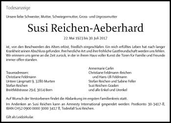 Anzeige von Susi Reichen-Aeberhard | www.sich-erinnern.ch -  susi-reichen-aeberhard#/trauerfall - Sich Erinnern PNG