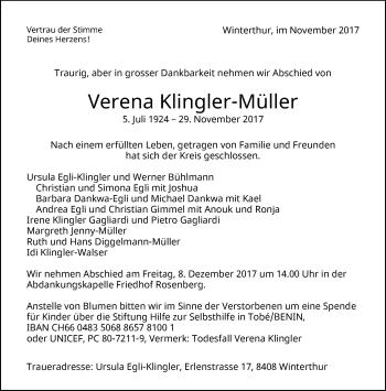 Anzeige von Verena Klingler-Müller | www.sich-erinnern.ch -  verena-klingler-mueller#/trauerfall - Sich Erinnern PNG