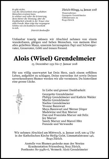 Traueranzeige Alois Grendelmeier - Sich Erinnern PNG