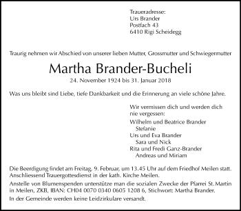 Traueranzeige Martha Brander-Bucheli - Sich Erinnern PNG
