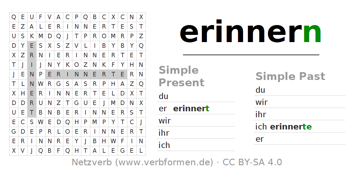 Word search puzzle for the conjugation of the verb erinnern. Word search PNG - Sich Erinnern PNG