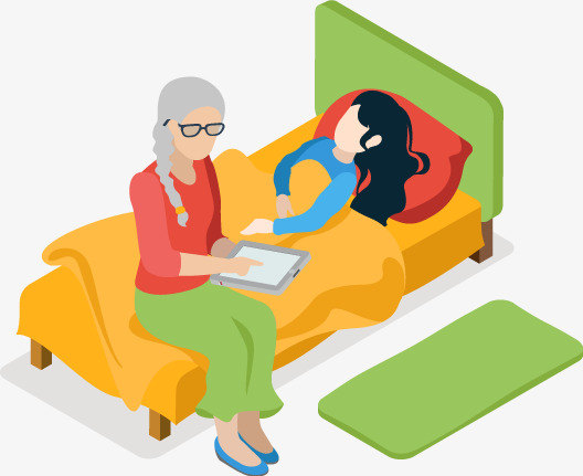 caring for the sick grandmother vector, Girl In Bed, Grandmother, Sick PNG  and - Sick Girl In Bed PNG