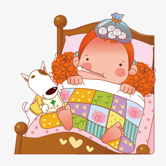 Girl sick in bed Free PNG and Vector - Sick Girl In Bed PNG