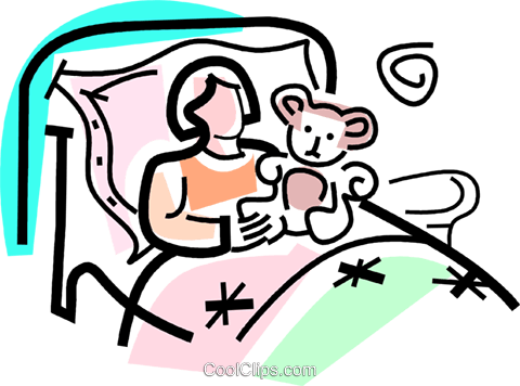 sick girl in bed with a stuffed animal Royalty Free Vector Clip Art  illustration vc064734 - Sick Girl In Bed PNG
