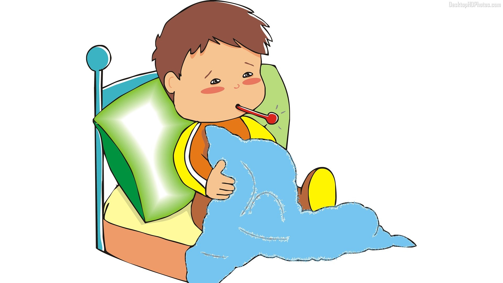 Hospital clipart sick boy - Sick In Bed PNG HD