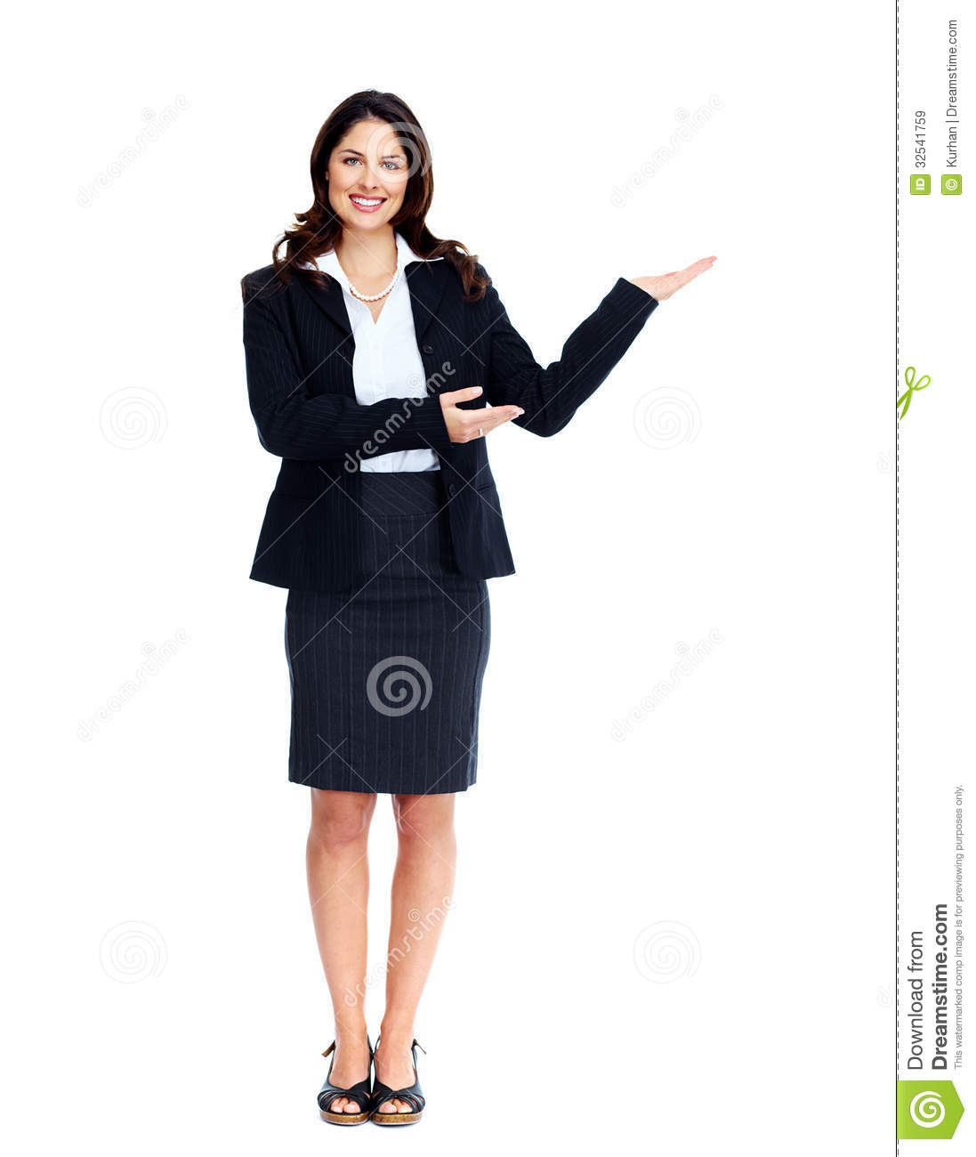 Business woman presenting a copyspace. - Side View Of A Person Standing PNG