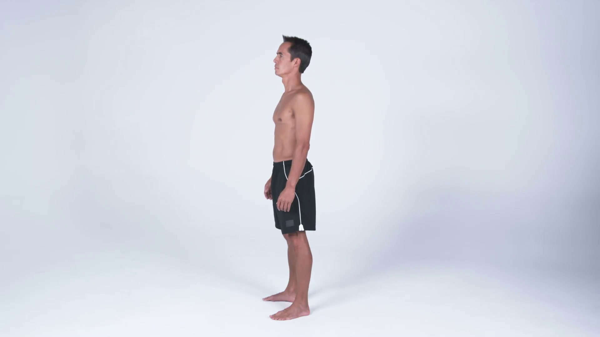 Left side view, full body of a man in gym shorts putting hands on hips  Stock Video Footage - VideoBlocks - Side View Of A Person Standing PNG