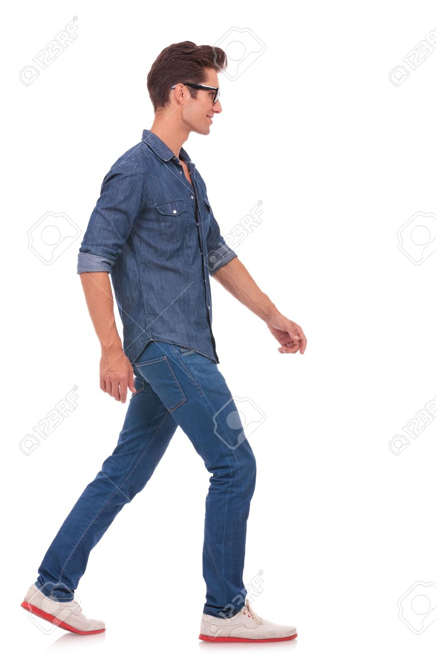 side view of a casual young man walking and looking forward, away from the  camera - Side View Of A Person Standing PNG