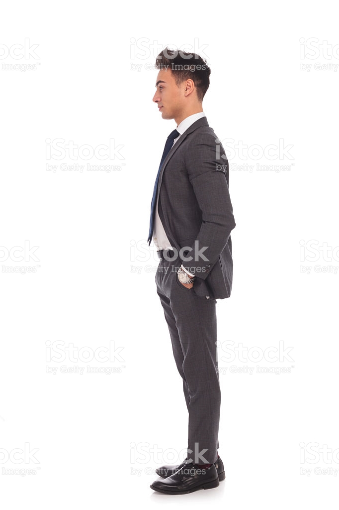 side view of a young business man standing in line royalty-free stock photo - Side View Of A Person Standing PNG