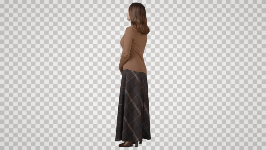 Single slim female in long skirt stands, waits, looks. Back view. Footage - Side View Of A Person Standing PNG