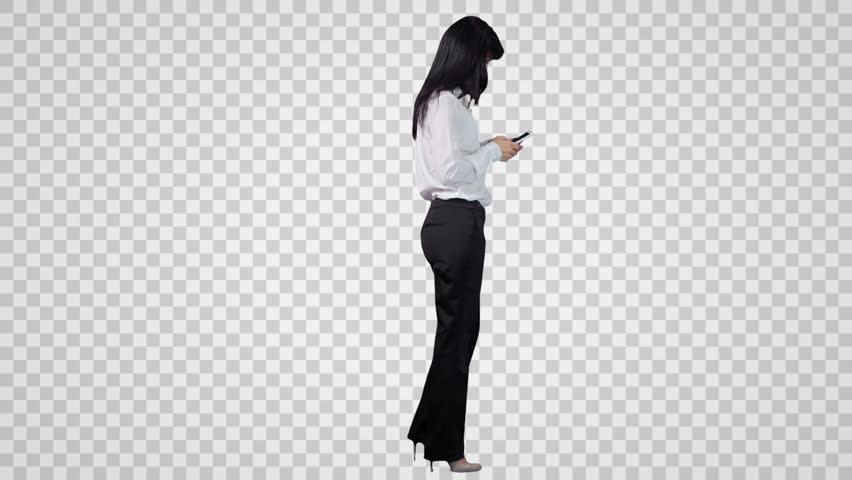 Standing Woman Surfs The Internet By Smart Phone. Side View (On Alpha Matte) - Side View Of A Person Standing PNG