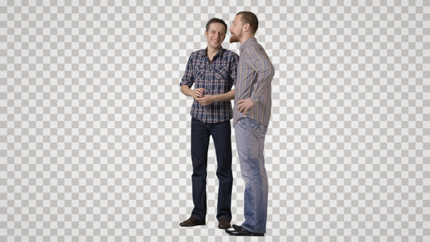 Two men in casual clothing stand side by side, talks, laugh Side view. - Side View Of A Person Standing PNG