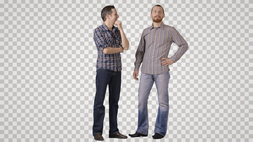 Two men in casual stand side by side, discuss, laugh. Front view. - Side View Of A Person Standing PNG