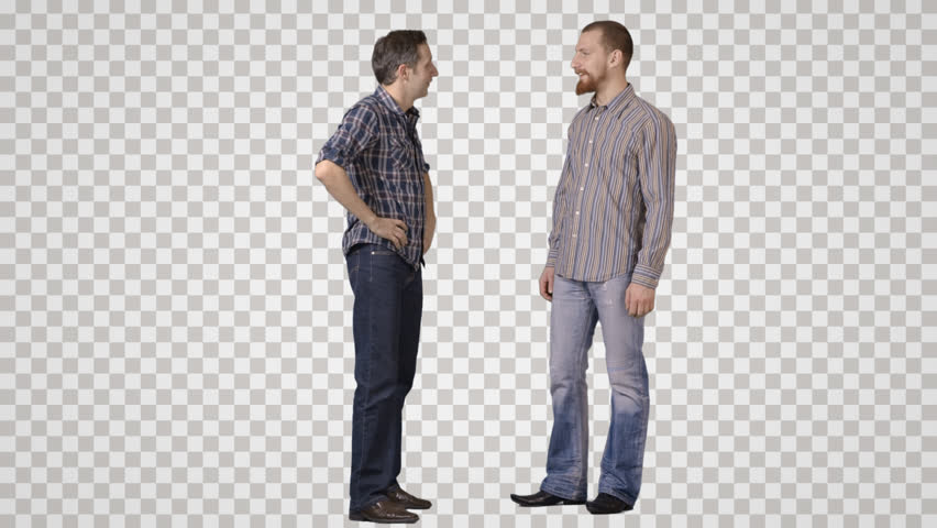 Two young men stand face to face, talk, laugh. Front view. Footage - Side View Of A Person Standing PNG