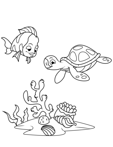 Coral Reef Fish and Sea Turtle coloring page - Simple Coral Reef PNG