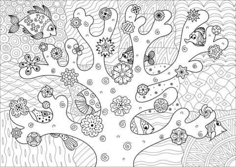 Find Fish Hidden in the Coral Reef coloring page - Simple Coral Reef PNG