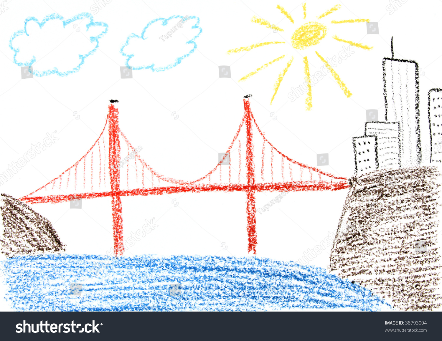 Child drawing of Golden Gate bridge and San Francisco made with wax crayons - Simple Golden Gate Bridge PNG