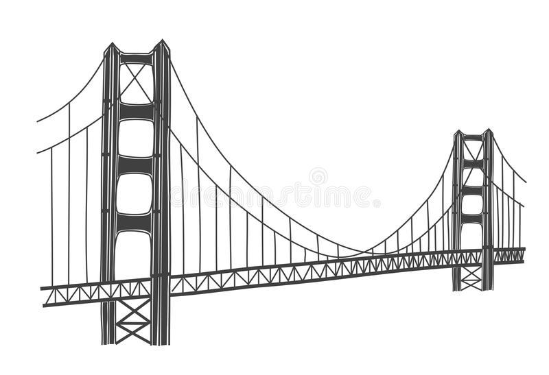 Download Illustration Of Golden Gate Bridge, San Francisco Stock  Illustration - Illustration of gate, - Simple Golden Gate Bridge PNG