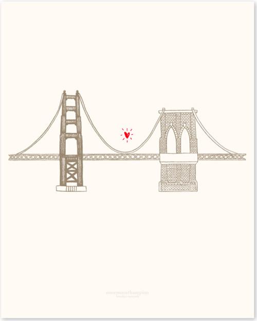 Golden Gate Bridge ♥ Brooklyn Bridge print by enormouschampion - Simple Golden Gate Bridge PNG