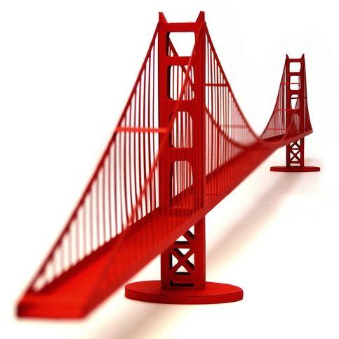Golden Gate Bridge Paper Model Craft Kit - Simple Golden Gate Bridge PNG
