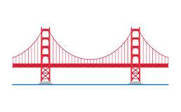 Golden Gate Bridge, San Francisco, USA. Vector illustration. Stock Photos - Simple Golden Gate Bridge PNG