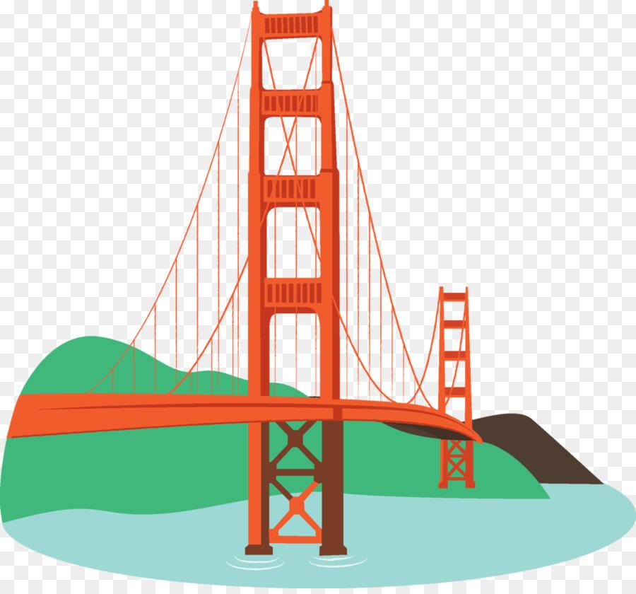 Golden Gate Bridge Sausalito Oakland San Francisco Bay San Francisco cable  car system - Bridge Cartoon Cliparts - Simple Golden Gate Bridge PNG