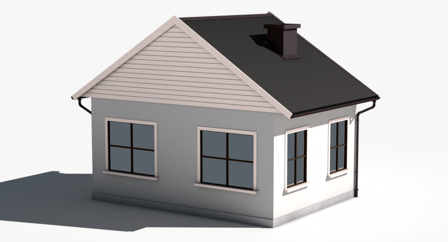 4 Simple House royalty-free 3d model - Preview no. - Simple House PNG HD