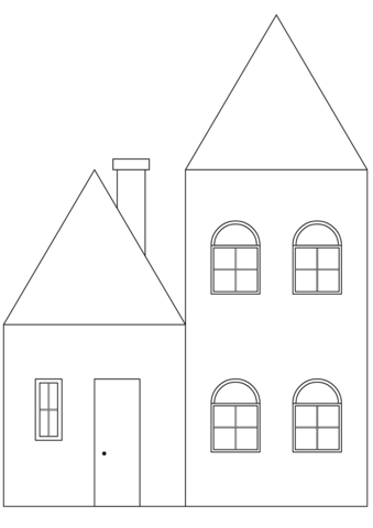 Click to see printable version of Simple House Coloring page - Simple House PNG HD
