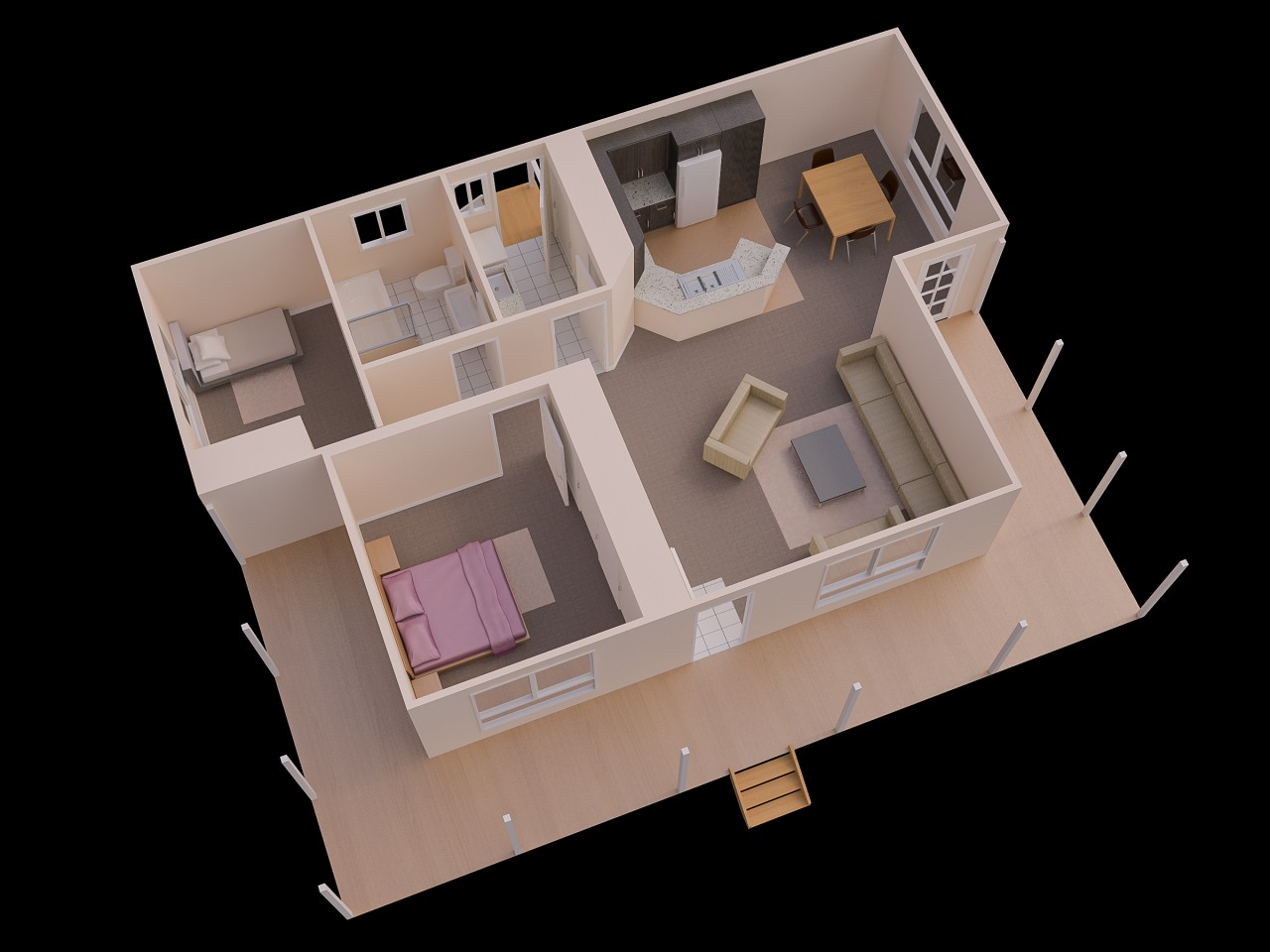 Gallery of Two Bedroom Simple House Plan Guest Plans South Pictures 2 Hd  Gallery - Simple House PNG HD