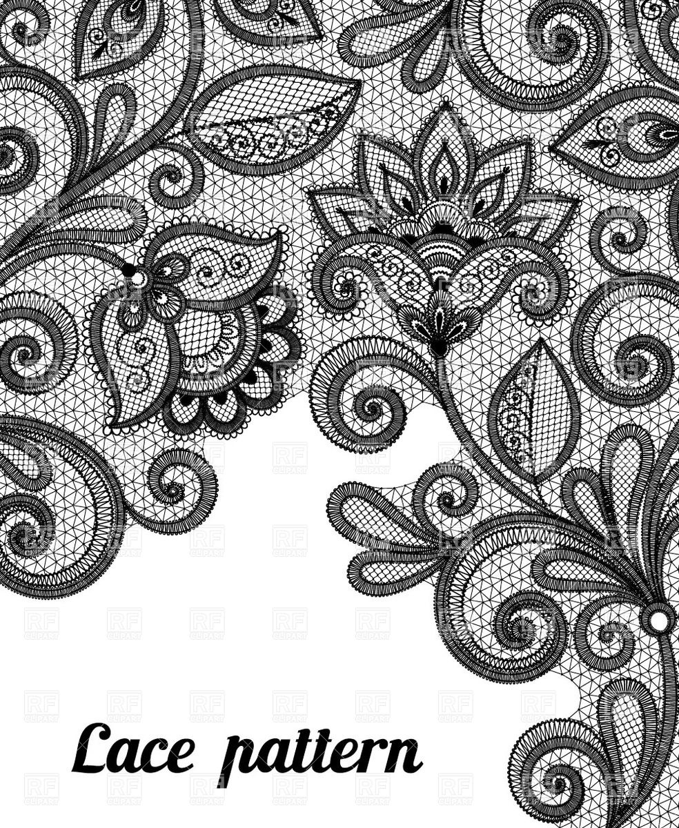 Black Lace Background | Floral Black Lace Pattern, Download Royalty-free  Vector Clipart ( - Simple Lace Patterns PNG