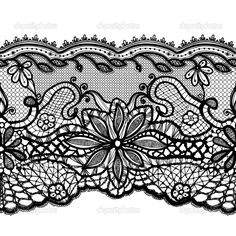 Lace black seamless pattern w