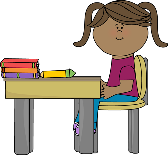 School Girl Sitting at a Desk - Sit At Desk PNG