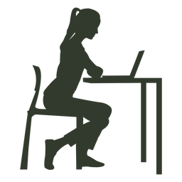 Woman sitting chair working desk - Sit At Desk PNG
