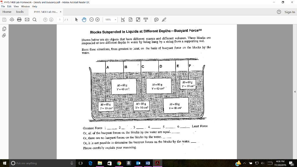 PHYS 1408 Lab Homework Densit