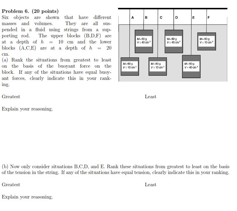 Problem 6. 20 points) Six obj