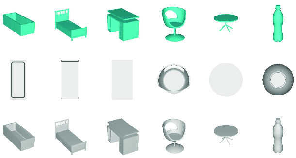 View examples of six 3D objects with different discriminativeness. The first - Six Objects PNG