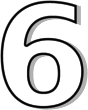 number 6 white - Six PNG Black And White