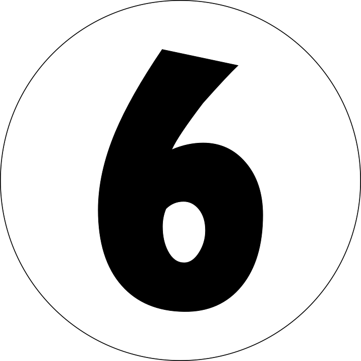 Six, 6, Number, Numeral, Typography - Six PNG Black And White