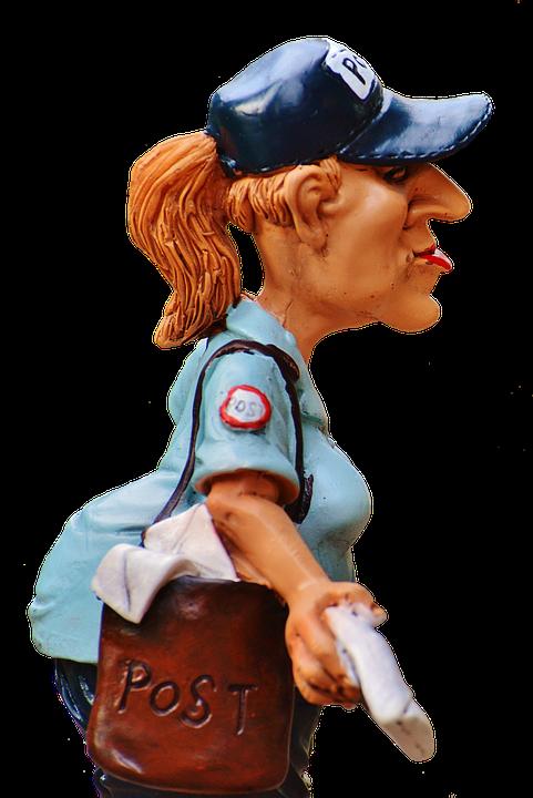 Mailwoman, Figur, Sjov, Dekoration, Posthuset, Breve - Sjove Figurer PNG