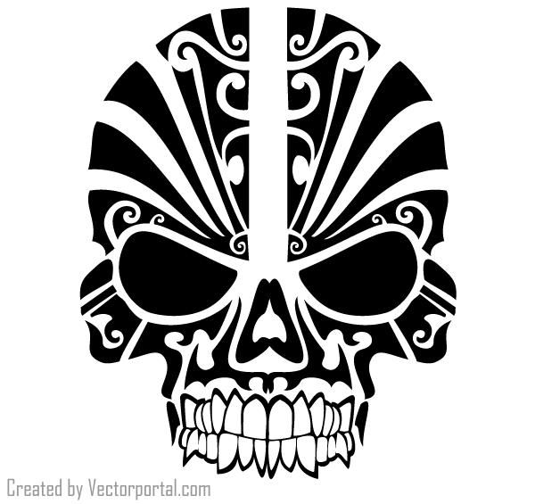 040-vector-tribal-skull-tattoo-design.png (600× - Skull Tattoo PNG