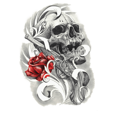 Rose and Skull Tattoo - Skull Tattoo PNG