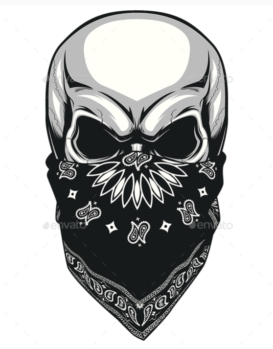 Skull-Bandana.png (558×713) - Skull Tattoo PNG