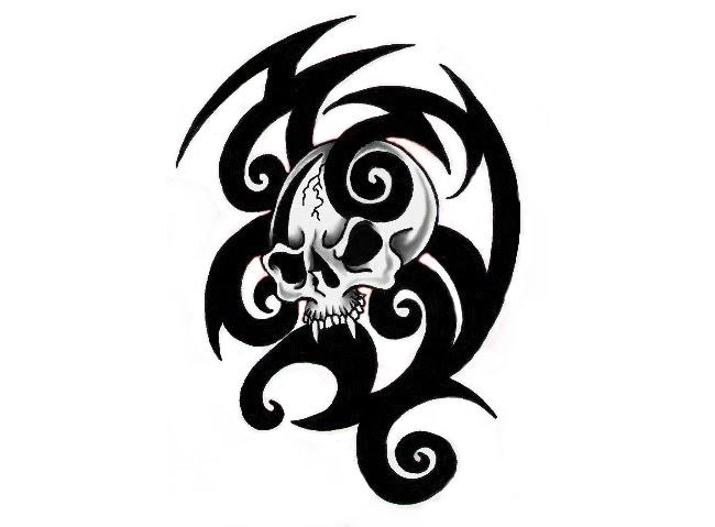Tribal Skull Tattoos Png image #30741 - Skull Tattoo PNG